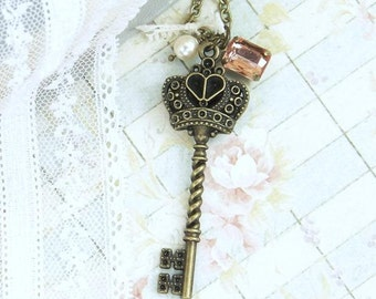 Victorian Key Necklace Crown Key Necklace Romantic Jewelry Antique Style Jewelry Peach Necklace
