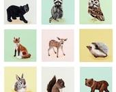 Woodland Animal Party Collection - Set of nine 5x5 Prints- children art prints, woodland nursery, pastels, deer, fox, bear