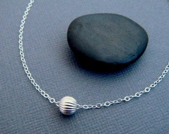 silver bead necklace. simple ball necklace. sterling silver delicate dainty necklace. corrugated accordion round bead. minimalist. 6 mm bead