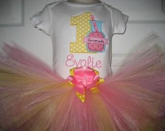Boutique Pink Lemonade First Birthday tutu set