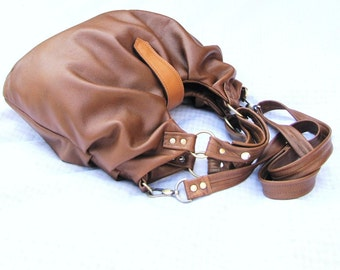 Tan Leather Satchel, Bag with pleats, Pleated Purse, Versatile leather bag, 3 Way Bag, large leather bag