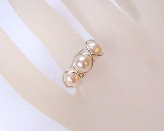 Sterling Silver Ring - Caged Pearls - Wire Wrapped Ring - Sterling Silver and Freshwater Pearl Wrapped Ring - All Sizes - Choose Colors