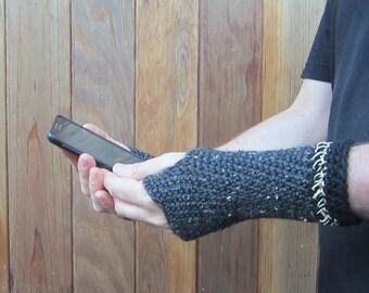 men's fingerless gloves/ charcoal tweed wool n' hemp crochet