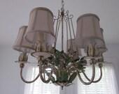 Vintage chippy tole metal floral chandelier.