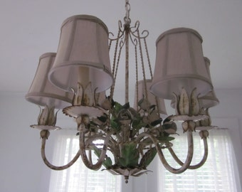 Vintage antique chippy tole metal floral chandelier.