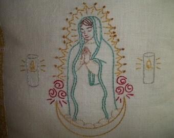 Embroidered Virgin of Guadalupe Pillow Folk Art 14 x 14 Pillow