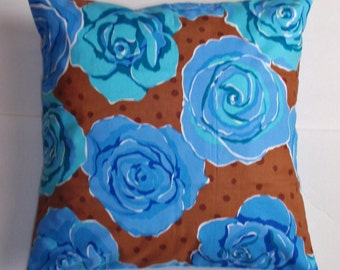 "Throw Pillow Cover, Accent Pillow, Toss Pillow, Floral Pillow, Cushion Cover, Blue Roses Pillow Covers, Valori Wells Fabric, 16x16"" Square"