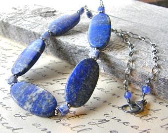 Royal Blue Lapis Lazuli Necklace, Chunky Cobalt Blue Necklace, Denim Blue Necklace