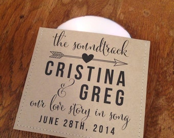 Rustic personalized cd sleeve wedding favor ANY COLOR