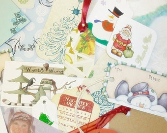 10 Holiday, ChristmasTags, Lot handmade Paper Tags, Christmas Art Tags