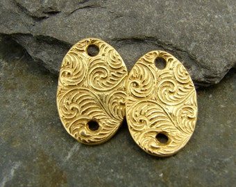 Spiraling Vine Ovals - Artisan 24K Gold Vermeil Links - One Pair - lsvov