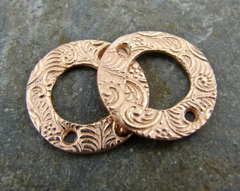 Spiraling Vine - Artisan Rose Gold Vermeil Links - One Pair - lsvrrgv