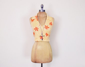 Vintage 90s Orange Daisy Print Top Floral Print Crop Top Tank Top Wrap Blouse Shirt 90s Top 90s Grunge Top Club Kid Top 70s Hippie Top M L