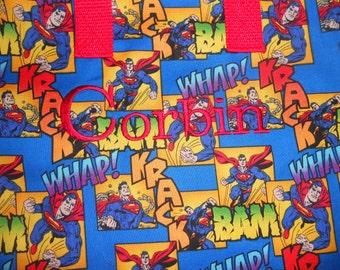 Superman Tote / Kindergarten / Preschool /Toy / Overnight / Candy Bag / Birthday / Storage / Lunch / Embroidered / Zippered