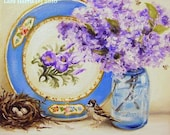 Custom Lilacs with Nest and Floral Plate Painting in OIL by LARA 8x10