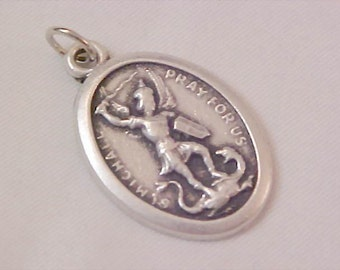 Mid Century (Italy) SAINT MICHAEL ARCHANGEL Highly Embossed Medal or Charm