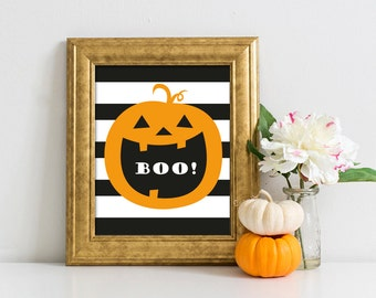 Halloween Printable art print wall art digital decor poster BOO halloween party decoration autumn decor INSTANT DOWNLOAD