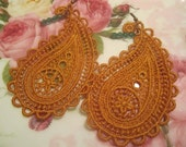 Lace Earrings , Crochet Earrings , Dangle Earrings , Paisley Earrings