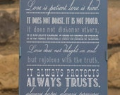 """Framed Art Print - Corinthians 13:4-7 - love is patient, love is kind... 5""""x7"""" - custom color, size, frame available"""