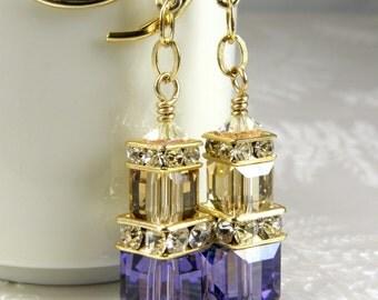 Tanzanite Purple Crystal Earrings, Gold Filled, Champagne Swarovski Crystal Cube, Long Dangle, Bridesmaid, Bridal Party Gift, Spring Wedding