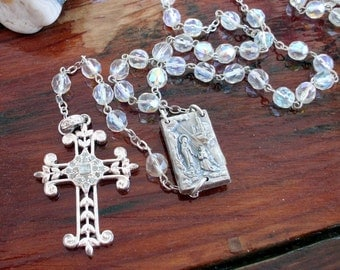 Vintage AB Glass Bead Rosary with Possible Relic on the Back - Beautiful