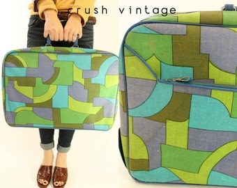 60s Suitcase Colorblock Overnighter / 1960s Mod Print Luggage /  Op Art Runaway Suitcase