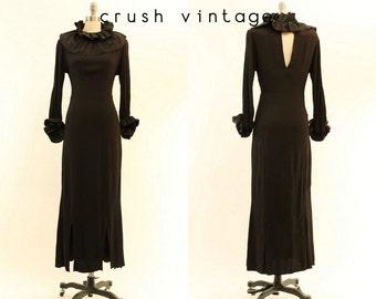 30s Dress Open Back Small / 1930s Vintage Dress Ruffles Gown / Magnifique Gown