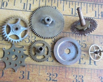 Vintage WATCH PARTS gears - Steampunk parts - g64 Listing is for all the watch parts seen in photos