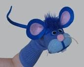 Handmade Blue Mouse Sock Puppet