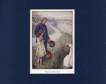 Adorable circa 1940's Susan, Father, Swan Vintage Cicely Mary Barker Print