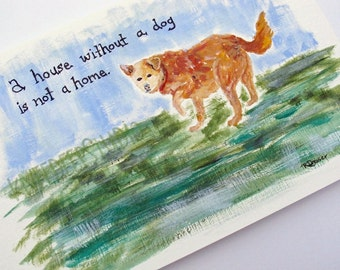 Yellow Dog Painting Original 5x7 Acrylic Fine Art Gift for Dog Lover Words Quote Contemporary Small Wall Decor Pet Portrait Ready to Ship
