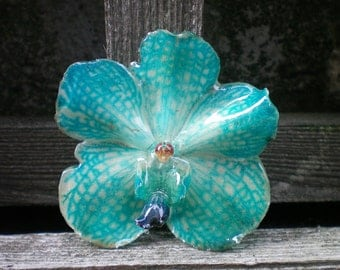 Free Shipping REAL Natural Turquoise Blue ORCHID Pin and Pendant