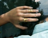 Triangle Wide Ring-Geometry Collection-Handcrafted Gold Plated Brass