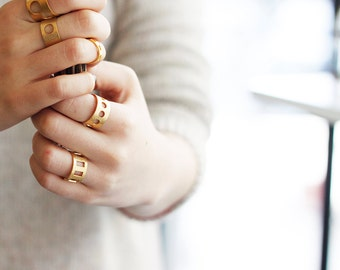 Circle Line Ring-Geometry Collection-Handcrafted Gold Plated Brass