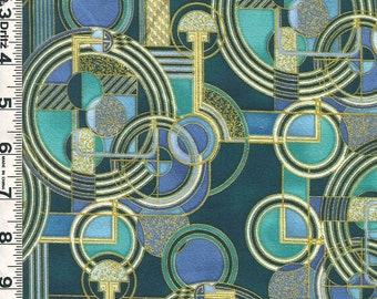 Fabric Kaufman LAVISH Art Deco style Architectural circles shades of blue and turquoise and metallic gold