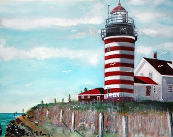 Original watercolor 11 x 14 Lighthouse in Maine with seagulls in the mix. 11 x 17
