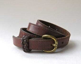 70s/ 80s Rustic vintage Narrow Dark Brown Leather Belt