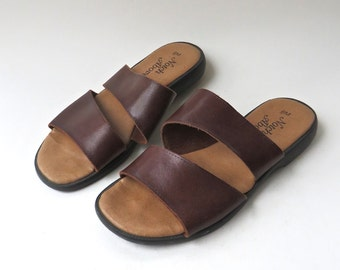 vintage Brown Leather Cross Strap Sandals / Made in Brazil