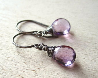Amethyst gemstone pale purple earrings wrapped with blackened oxidized sterling wire