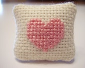 Pink Heart Counted Cross Stitched Dollhouse Pillow