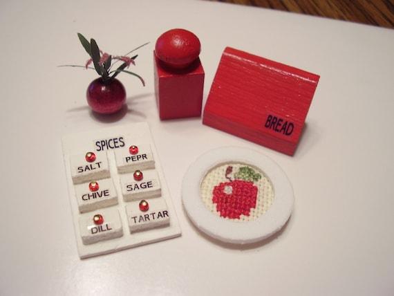 Mini red kitchen accessories - Red kitchen decor accessories ...