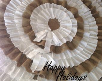 Christmas Tree Skirt with Burlap and White Ruffles
