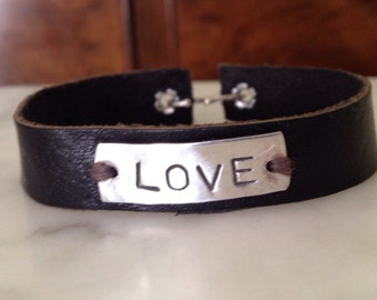 Love Bracelet, personalized word jewelry, Valentine's Day Gift Handmade Jewelry, Sterling Silver and Leather Bracelet