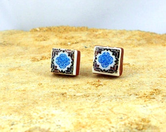 Portugal Antique Azulejo Tile Replica Post Stud Earrings Brown and Blue Lisbon 533 Gift Box Included