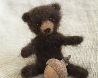 Miniature Black Bear Teddy Bear Needle Felted