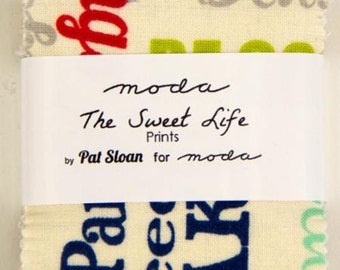 SUMMER SALE - The Sweet Life - Mini Charm Pack - 43050MC - by Pat Sloan for Moda Fabric