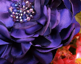 Dark Purple Colored Flower Brooch or Hair Clip