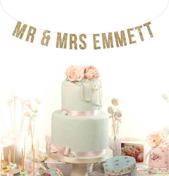 Custom MR & MRS Wedding Sign. Wedding Glitter Garland. Reception Banner. Custom Wedding Garland