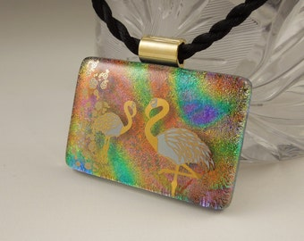 Fused Glass Flamingo Necklace - Dichroic Fused Glass Pendant -Dichroic Glass - Bird Jewelry - Wild Life - African - 22K Gold X8106