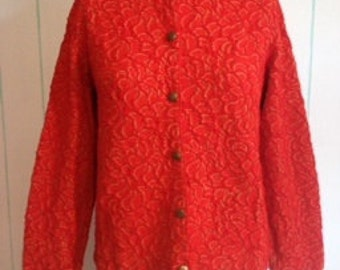 Vintage Jantzen Orange Jacket Top Size 8-10